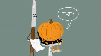 Halloween barbers knives pumpkins Wallpaper