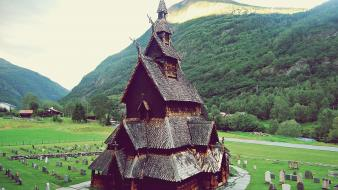 Houses norway europe cemetery borgund stave church wallpaper