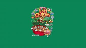 Humor parody cereal loki green background wallpaper