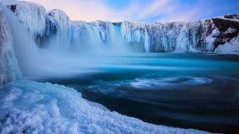 Ice nature winter snow iceland waterfalls wallpaper