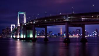 Japan cityscapes city lights tokyo towers rainbow bridge Wallpaper