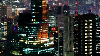 Japan tokyo cityscapes night skyscrapers city lights Wallpaper