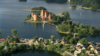 Landscapes nature forests islands lithuania trakai castle wallpaper