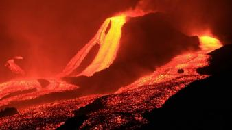 Landscapes night volcanoes lava wallpaper