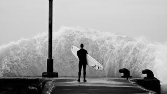 Landscapes waves thinking surfing angry waterscapes Wallpaper