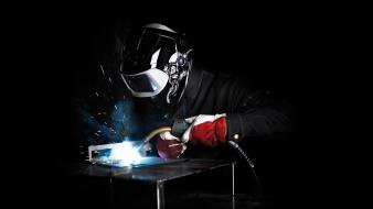 Light black red white welder Wallpaper