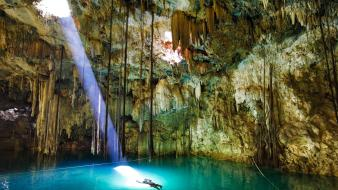 Light landscapes nature cave swimming stalactites azure wallpaper
