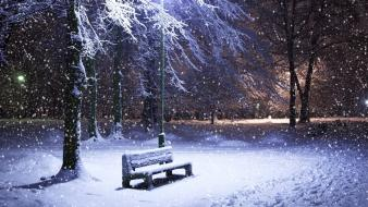 Light landscapes nature winter snow bench parks snowfall wallpaper