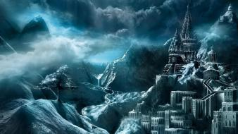 Mountains clouds castles fantasy art town wallpaper