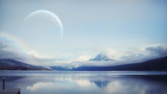 Mountains clouds landscapes nature moon lakes skies wallpaper