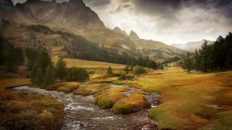 Mountains landscapes nature autumn forests peaks creek wallpaper