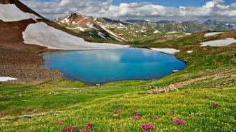 Mountains landscapes nature flowers spring wallpaper