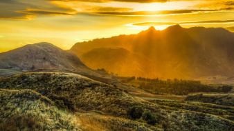 Mountains landscapes sunlight sun rays wallpaper