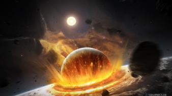Outer space explosions fire impact meteor wallpaper