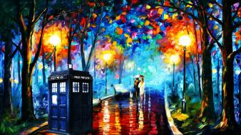 Paintings tardis leonid afremov doctor who photomanipulation Wallpaper