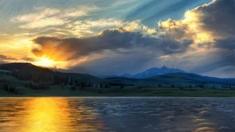 Paintings yellowstone on fire wallpaper