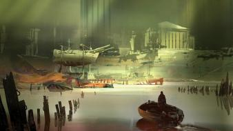 People boats digital art science fiction artwork wallpaper