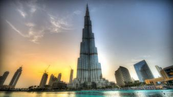 Sunset landscapes cityscapes buildings dubai burj khalifa Wallpaper