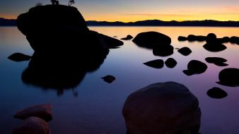 Sunset rock bonsai nevada lake tahoe wallpaper