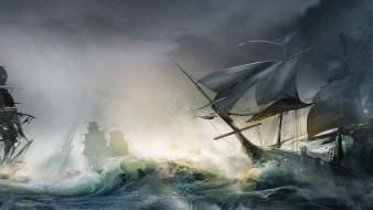 Video games storm ships battles sea wallpaper