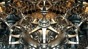 Abstract fractals mechanical digital art Wallpaper