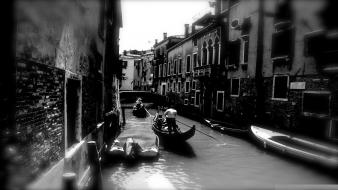 Black and white streets artistic venice monochrome artwork Wallpaper