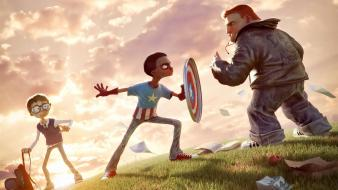 Captain america superheroes funny boys playing wallpaper