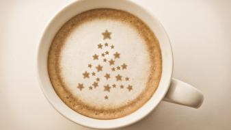 Christmas cappuccino coffee cups wallpaper