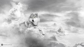 Clouds castles moon yellow eyes artwork desktopography wolves wallpaper