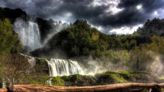 Clouds landscapes nature wood falls gloomy protection sky wallpaper