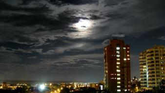 Clouds landscapes night buildings colombia cities barranquilla Wallpaper