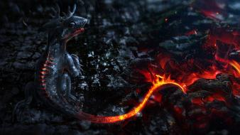 Dragons lava fantasy art artwork wallpaper