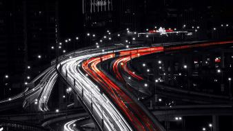 Exposure selective coloring cities light trails shot wallpaper
