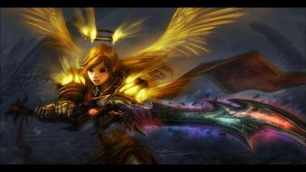 Fantasy art armor paladin girls with swords Wallpaper