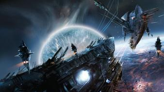 Fight surreal spaceships battles artwork lost empire wallpaper