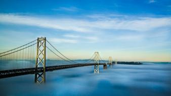 Fog usa california san francisco bay bridge oakland wallpaper