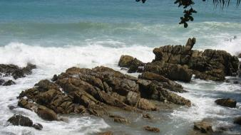 Landscapes nature coast waves rocks stones branches sea wallpaper