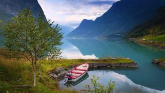 Landscapes nature grass norway lakes fjord reflections Wallpaper