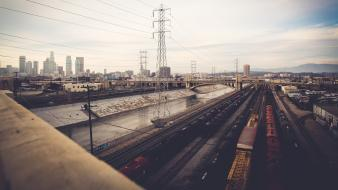 Los angeles rivers transmission line cities trainway wallpaper