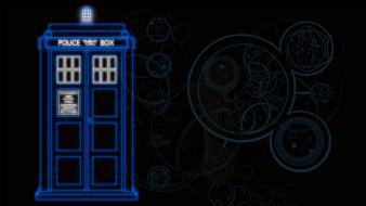 Minimalistic tardis doctor who police box neon wallpaper