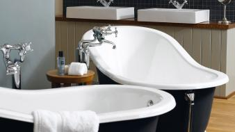 Mirrors towels bathtubs sinks interior designs wallpaper