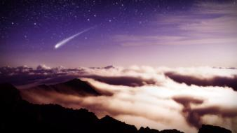 Mountains clouds landscapes nature stars comet wallpaper