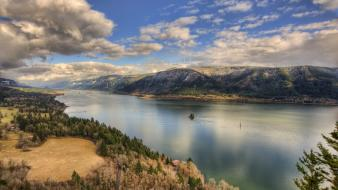 Mountains landscapes nature forests roads columbia river wallpaper