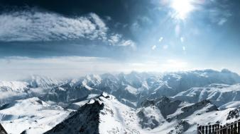 Mountains landscapes nature snow sunlight french alps Wallpaper