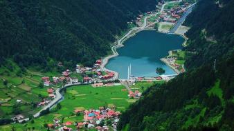 Mountains nature turkey trabzon lakes farm uzungöl townscape wallpaper