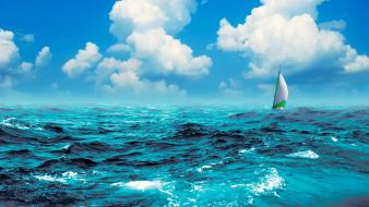 Ocean clouds waves boats yaught skies sea wallpaper