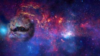 Outer space galaxies earth hipster mustache colors wallpaper