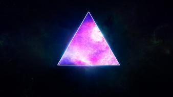 Outer space galaxies hipster artwork triangles wallpaper