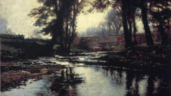 Paintings landscapes artwork theodore clement steele wallpaper