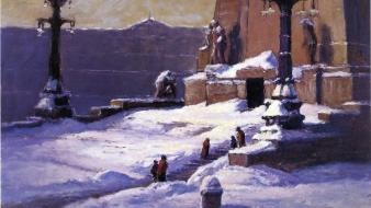 Paintings landscapes snow artwork theodore clement steele wallpaper